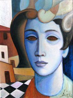 Diego Voci - Composition avec visage, 1974