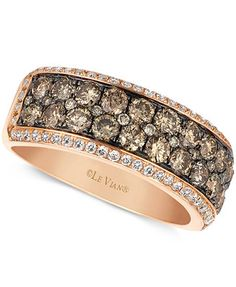 Le Vian Chocolate and White Diamond 2-row Band (1-1/2 ct. t.w.) in 14k Rose Gold