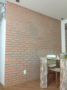 Brick Wall With Gesso uheuh Decor Interior Design, Interior Decorating, Old Wall, Home Projects, Diy Projects To Try, Exposed Brick, Basement Remodeling, Laminate Flooring, Brick Wall