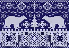 Vector: Knitted ornament with white bears. Northern pattern.