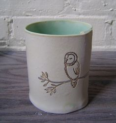 Tea mug with Owl Carving. Beautiful.