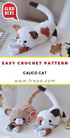 Easy Crochet Animals, Crochet Cat Toys, Crochet Bear, Crochet Crafts, Easy Crochet Projects, Crochet Pillow Patterns Free, Crochet Cat Pattern, Crochet Patterns Amigurumi, Quick Crochet