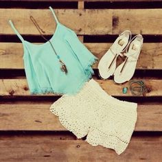 Blouse: summer, fashion, shorts, lace, shoes, mint, jewels, tank ...