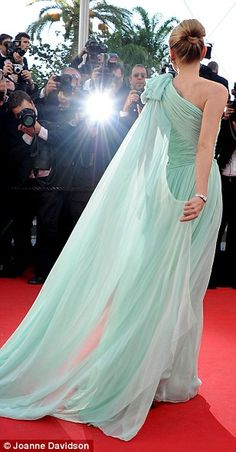 Diane Kruger wowed in a mint green chiffon gown gathered into a corset, with a long cape-like swathe of translucent material falling from her left shoulder. The Cannes Film Festival (2012)