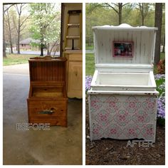 An old duck decoy cabinet is now a little girls toy box. Done in white cloud with mini wax Jacobean stain. FADED FARMHOUSE DESIGNS by Michelle
