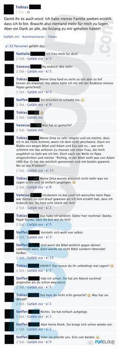 Tobias hat endlich seiner Familie gestanden, dass er bi ist. Seine Familie hatte da etwas gemischte Reaktionen.  Facebook Fail des Tages 14.03.2016