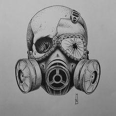 Cool Skull Tattoos For Women – My hair and beauty Creepy Drawings, Dark Art Drawings, Creepy Art, Pencil Art Drawings, Skull Drawings, Gas Mask Drawing, Gas Mask Art, Masks Art, Tattoo Sketches