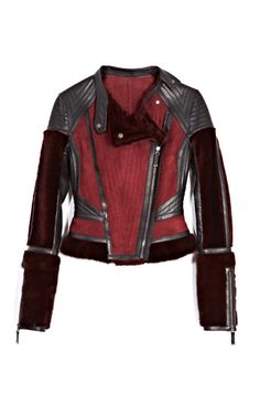 J. Mendel Long Haired Mink Trim Motorcycle Jacket