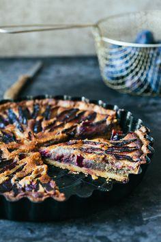 Rustic plum, walnut and honey tart.