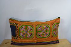 """Vintage Pillow Cover, Hill Tribe Textile Decorative Pillow Handmade Cotton and Hemp Embroidered Eco Friendly 12"""" x 22"""" HCB0096"""