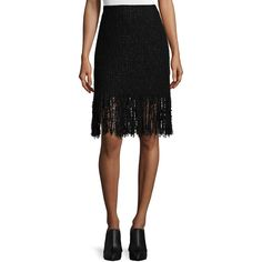 Maiyet Tweed Fringe-Hem Mini Skirt ($875) ❤ liked on Polyvore featuring skirts, mini skirts, black, black miniskirt, tweed mini skirt, black fringe skirt, short mini skirts and long skirts