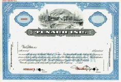 Texaco, Inc. Specimen Stock Certificate ( Pre Chevron Merger ) - 1967
