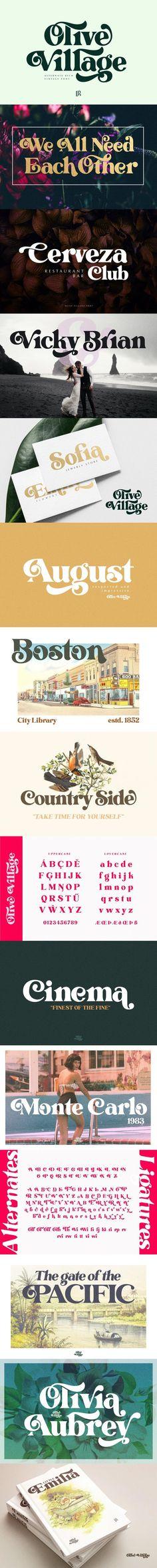 Olive Village - Vintage Font #classic #otf #VintageFont #bold #instagramstories #trendyfont #otf #headingfont #ttf #feminine #ttf #opentypefont #modernfont #display #webopenfontformat #children #lettering #modernfont #fun Modern Font, Font Design, Vintage Fonts, Cinema, Wedding Fonts, Branding, Typography, Lettering, Display