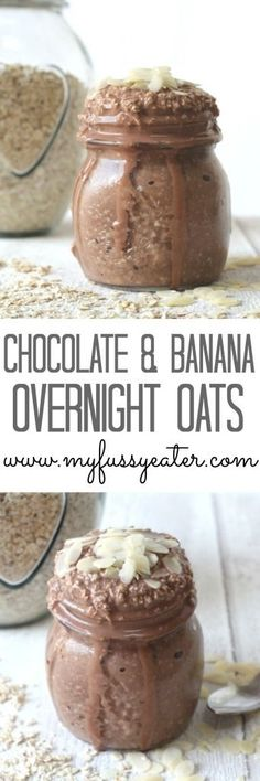 Cocoa Banana Overnight Oats so quick and easy great for breakfast on the run!