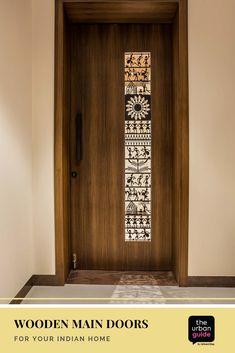 Wooden Main Door Design: 10 Solid Ideas For Your Indian Home Wooden Front Door Design, Double Door Design, Main Entrance Door Design, Home Entrance Decor, Modern Entrance Door, House Entrance, Pooja Room Door Design, Bedroom Door Design, Door Design Interior