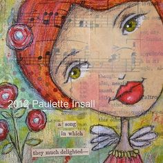 "She Sang A Delightful Song {4""x4"" mixed media painting} by Paulette Insall, via Flickr"