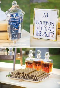 Perfect birthday idea for your favorite guy - a bluegrass & bourbon birthday party theme! Impressive details like a cigar bar and monogrammed matchbooks.
