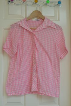 """Vintage pink gingham Sears """"Perma Prest"""" shirt. No size tag but measures approx. 19"""" across armpit to armpit"""