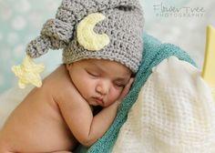 Baby Moon Hat Newborn Photo Prop Sleepy Time by VioletsPlayground
