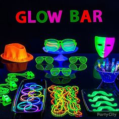 Set up a table of gear and glow sticks!