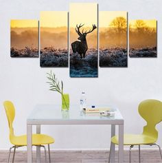 Deer Out In The Wild 5 Piece Wall Art Canvas
