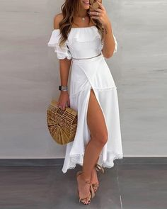 Off Shoulder Ruffle Tops Split Skirt Sets Summer Outfits Women Fashion Trendy Outfits Outfit Ideas Trend Fashion, Look Fashion, Womens Fashion, Fashion Quiz, Casual Dresses, Fashion Dresses, Summer Dresses, Elegant Dresses, Sexy Dresses