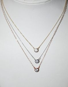 Solitaire Necklace CZ Simulated Diamond by SandysCharmingBeads. The gold one :)