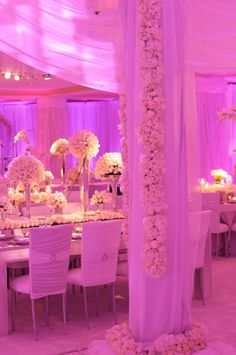 love the pinkish lavender lighting