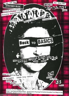 Showcase a hair style you like as the headshot. Info in the ransom note style. Background pattern could change potentially to a pattern of styling related illustrations. Back To Basics flyer. Rock Posters, Band Posters, Concert Posters, Arte Punk, Punk Art, Punk Poster, Tattoo Bein, Saul Bass, Acid House