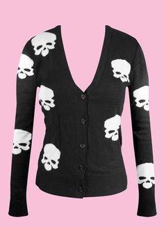 Image detail for -Skull Knit Button Up Cardigan Black Punk Pinup Hipster Rockabilly ...