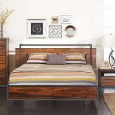 Modern Metal Bed Frames peruvian walnut wood option   queen size, peruvians and eastern