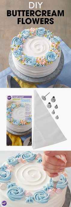 DIY Buttercream Flowers - Teach yourself how to make buttercream flowers with this step-by-step book set that shows you how with complete instructions and color photos, plus all the tools you need to (Cup Cake Design) Frosting Techniques, Frosting Tips, Frosting Recipes, Buttercream Frosting, Buttercream Cake Designs, Buttercream Decorating, Buttercream Flower Cake, Buttercream Birthday Cake, Cake Frosting Recipe
