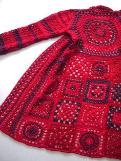 Transcendent Crochet a Solid Granny Square Ideas. Inconceivable Crochet a Solid Granny Square Ideas. Gilet Crochet, Crochet Coat, Crochet Jacket, Freeform Crochet, Crochet Cardigan, Crochet Clothes, Diy Crochet Granny Square, Granny Square Sweater, Crochet Square Patterns
