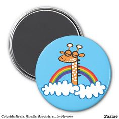 Colorida Jirafa. Giraffe. Arcoiris, rainbow. 3 Inch Round Magnet. Producto disponible en tienda Zazzle. Decoración para el hogar. Product available in Zazzle store. Home decoration. Regalos, Gifts. Link to product: http://www.zazzle.com/colorida_jirafa_giraffe_arcoiris_rainbow_3_inch_round_magnet-147378809147392939?CMPN=shareicon&lang=en&social=true&view=113843929110933646&rf=238167879144476949 #imanes #magnets #jirafa #giraffe