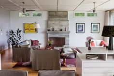 Concrete Fireplace !  Cliffside Drive - Contemporary - Living Room - Los Angeles - Natasha Barrault Design