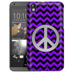 HTC Desire 816 Peace on Chevron Zig Zag Purple Black Slim Case