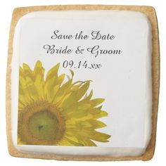 Yellow #Sunflower #Wedding Save the Date Square Sugar #Cookies - Announce your upcoming nuptials with these delicious and classy personalized Yellow Sunflower Wedding Save the Date Shortbread Cookies. These pretty custom botanical wedding keep the date cookies feature a yellow sunflower blossom adorning the corner with a white background. Perfect for the couple who are planning an elegant summer or sunflower wedding theme. #savethedate