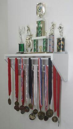 White Trendy Trophy Display for medals and by TrendyDisplay Trophy Shelf, Trophy Display, Display Shelves, Gymnastics Medal Holder, Hanging Medals, Trophies And Medals, Medal Holders, Wall Spaces, Diy Room Decor