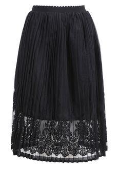 Elastic Waist With Lace Crochet Black Skirt 12.90