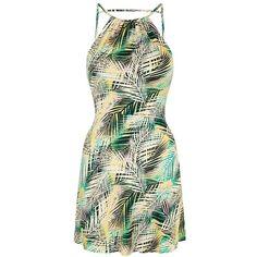 Petite Topshop Tropical Print Flippy Dress ($50) ❤ liked on Polyvore featuring dresses, short dress, petite dresses, open back mini dress, ruched dress, sleeveless dress and short dresses