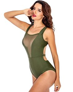 14b913f849 Funnygirl Women's One Piece Swimsuit High Neck Mesh V-Neck Ruched Tummy  Control Monokini Beach Swimwear Bathing Suit at Amazon Women's Clothing  store: