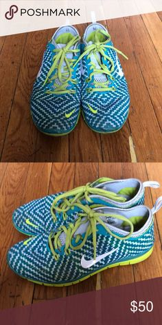 Neon Nikes Barely worn neon Nike sneakers in a women's 7.5 Nike Shoes Sneakers