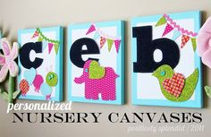 Absolutely adorable canvas wall art for nursery from Positively Splendid.