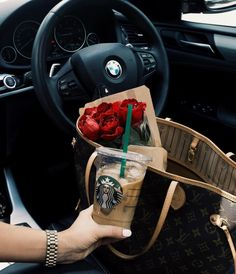 Boujee aesthetic, flower bag, all the way down, basic white girl, white Frappuccino, Love Couple Photo, Basic White Girl, Bmw Girl, Luxury Lifestyle Fashion, Boujee Aesthetic, Bmw Love, Flower Bag, Car Goals