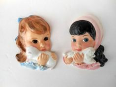 RARE Pair 1960's Northern Tissue Girls Ceramic Wall Plaques Shabby N Chic Minty | eBay