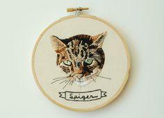 """Mano Bordado personalizado Retrato de mascotas. Unique 5 """"personalizado Imagen animal. Made To Order cosida mano del arte del animal doméstico. Cosidos a mano por escándalo."""