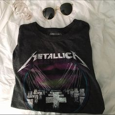 Metallica muscle tee ➳ super cute, homemade muscle tee ➳ was once a men's XL, now after being altered is a women's medium ➳ not urban ; just used for exposure Urban Outfitters Tops Muscle Tees