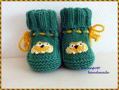 Babyschuhe+gestrickt+Micro+grün+gelb+von+Hexenpott+auf+DaWanda.com