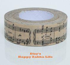 Japanese Washi Masking Tape Classic Music 11 yards by zakkalover, $2.80