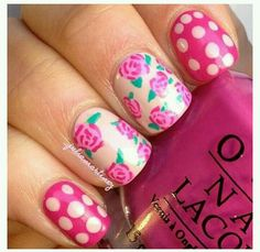 Flowers pink nail art design